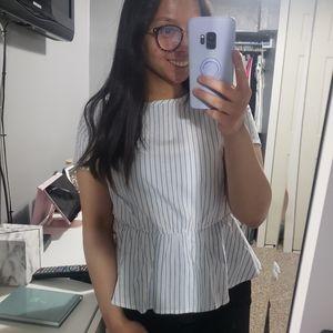 🌼Cute Striped Peplum tie blouse
